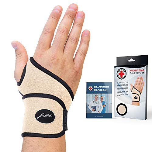 Doctor Developed Premium Nude Wrist Support / Wrist Strap / Wrist Brace / Hand Support [Single] & DOCTOR WRITTEN HANDBOOK— RELIEF for Wrist Injuries, Joint Disease, Sprains & More (Nude)