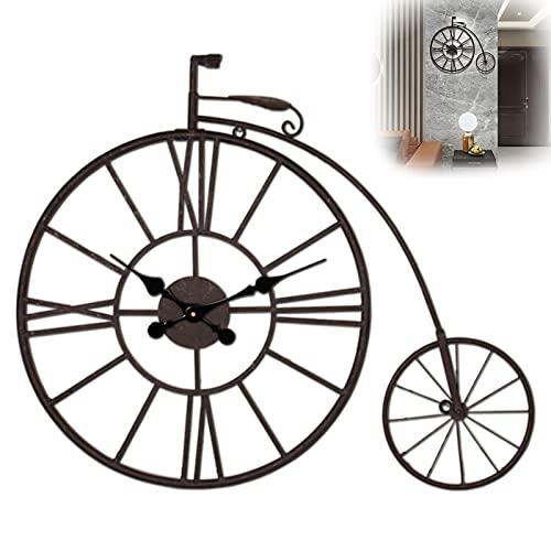 QWEEI Reloj de números Romanos de 76X66 CM, Reloj de Pared silencioso y sin Tic-TAC de Estilo Pastoral de Bicicleta Retro para el hogar, Barra de salón Creativa, Elegante Reloj de Cuarzo