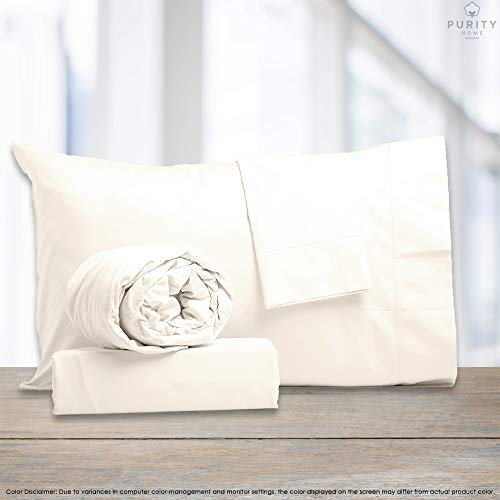 Purity Home Soft & Light Weight 100% Combed Compact Cotton Sheet Set, 3 Piece Set, Bestselling Twin Sheets Percale Weave, Cool & Breathable, Fitted Sheet Fits Up to 16' Deep Pocket, Fresh Ivory