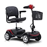 Electric 4 Wheel Mobility Scooter, 24V/300W Powered Wheelchair Device for Travel, Adults, Elderly, Long Range Power Extended Battery with Charger and Basket Included, Maximum Load 265Ibs