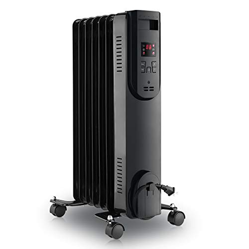 LIFEPLUS Oil Filled Radiator Heater 1500W - Portable Electric Oil Space Heater for Indoor Use - Super Quiet Remote Control 12H Timer LED Display, 3 Heat Modes with Accurate Thermostat Energy Saving, for Bedroom Home Office Use, Sleek Black