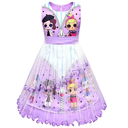 LOL Surprise OMG - Vestido para niña con cuello redondo y sin mangas, diseño de lunares 8934 morado 120 cm(4-5 Años)