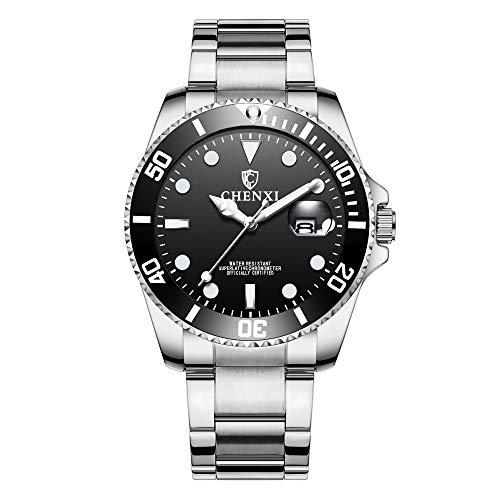 Relojes Submariner Clásico Relojes Calendario para Hombre Acero Inoxidable, Negro