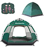 Mianbaoshu Automatic Waterproof Family Camping Tent for 3-4 Persons,Big Size Oxford Cloth Double Layer Family Camping Tent with Instant Setup.