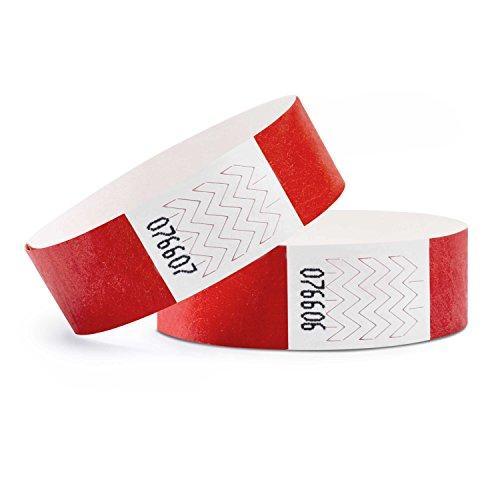 linie zwo®, Confezione da 100 Braccialetti di identificazione Tyvek® 19 mm, Rosso