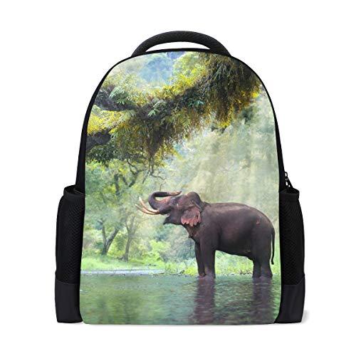 Rucksack Bookbag Daypack Steam Forest Elephant Waterproof für mittlere Reise Mädchen Jungen