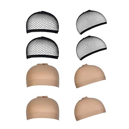 8 Stück Perücke Kappen Caps Nylon Haarnetz Dehnbare, URAQT Wig Caps Perücke kappe Schwarz Mesh und Neutral Nackt Beige, Elastische Netz