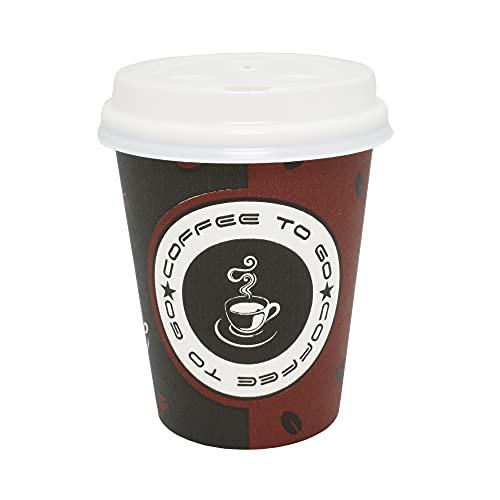 SK Games 100 Stück / 200ml Coffee to go Kaffeebecher Hartpapier Pappbecher mit Deckel