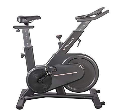 VOLAVA Smart Bike Bicicleta Estática. Freno Magnético. Transmisión por Correa, súper silenciosa. Uso doméstico. Ajustable y Resistente. Clases virtuales bajo suscripción.