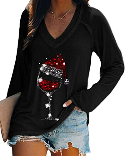 Byvheh Christmas Red Wine Glass Print Sweatshirt Ladies Christmas T-Shirt Women's Christmas Wine Glass T-Shirt