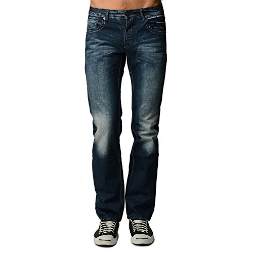 Dinamit Men's Five Pocket Classic Distressed Jeans with a Broken-in Look 30