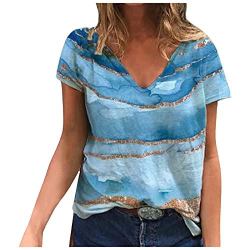 Blusa de mujer con diseño de graffiti, elegante, camiseta de manga corta, cuello en V, camiseta de verano, azul claro, XXL