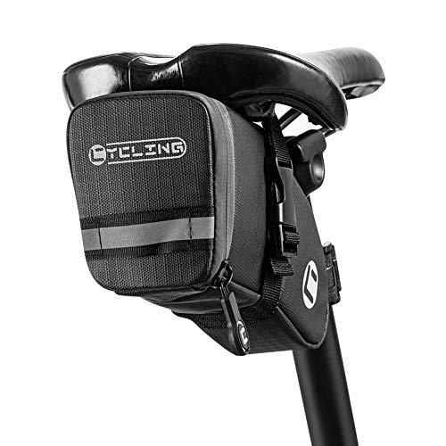 Luckits Bolsa de sillín de Bicicleta, Bolsa de sillín de Bicicleta Impermeable, Bolsa de Asiento de Bicicleta compacta de 0.8L, para Bicicleta de Carretera MTB Bicicleta Plegable (17 * 9 * 4.5CM)