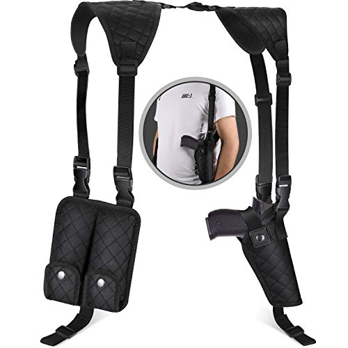 Vemingo Adjustable Shoulder Holster, Upgraded 2.0 Gun Holster with Double Magazine fit Most Pistols, Women and Men Vertical Weapon Holster for 1911,Glock 19, 17,43 Shield 9mm etc.