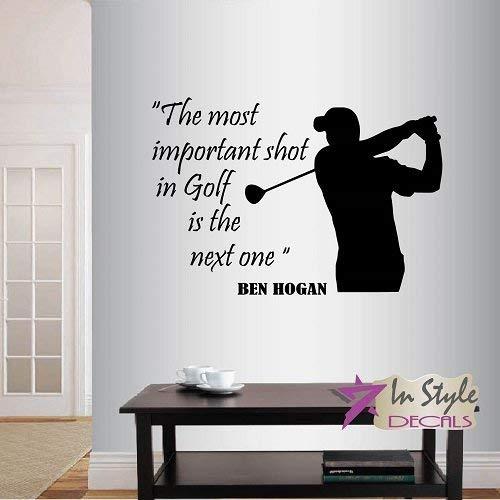 Lplpol muur Vinyl Decal Home Decor Art Sticker De belangrijkste schot in Golf is de volgende Ben Hogan Quote Phrase Golf Player Man Sportsman Golf Course Club Gym Thuis Kamer Verwijderbaar Stijlvolle Mural Uniek Ontwerp