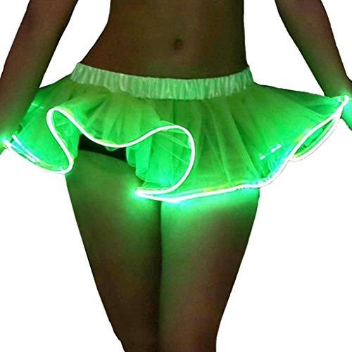 LQH Moda Mini Estadio de LED Show Faldas del tut Luminoso Que Brilla Dance Performance Skirt (Color : Green, Size : Medium)