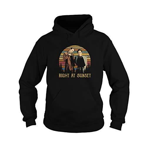 Unisex Right at Sunset Vintage Adult Hooded Sweatshirt (Black, Large)