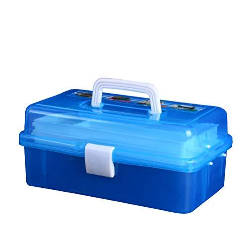 TOPBATHY Approvisionnement D'art Stockage D'artisanat en Plastique Transparent Nail Art Boîte à Outils Trois Couches Étui à Conteneurs Polyvalent Boîte de Premiers Soins Bleu