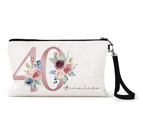 BagBeauty Trousse de maquillage personnalisable en lin Crème 40e anniversaire Motif floral Rose/bleu