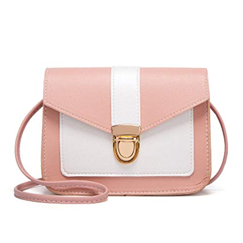 Napa Muster Farbsperre Lässige kleine quadratische Taschen Schulter Umhängetasche Frauentasche Frauen Praktische Modetaschen - Pink