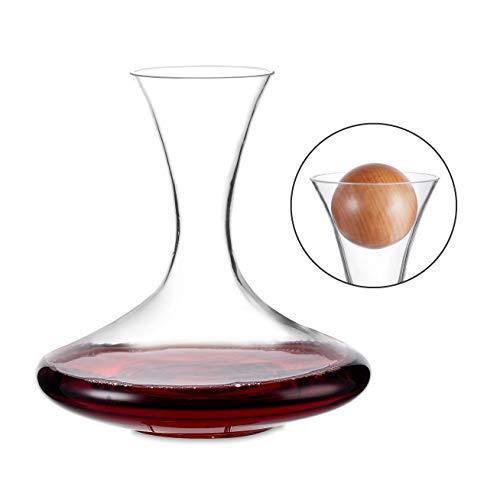 Amisglass Dekanter, Weinbelüfter Dekantierer für Rotwein, Mit Zubehör (Korkverschluss) - 100% bleifreie Weinkaraffe aus Kristallglas - Weinbelüfter Dekantierer für Rotwein - Einzigartige Geschenkidee
