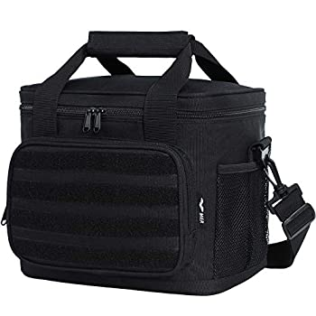 MIER Insulated Lunch Box Bag Leakproof Meal Prep Cooler Bag Tote for Adult Men Women Kid to Work Tactical School Picnic 12 Can  Black