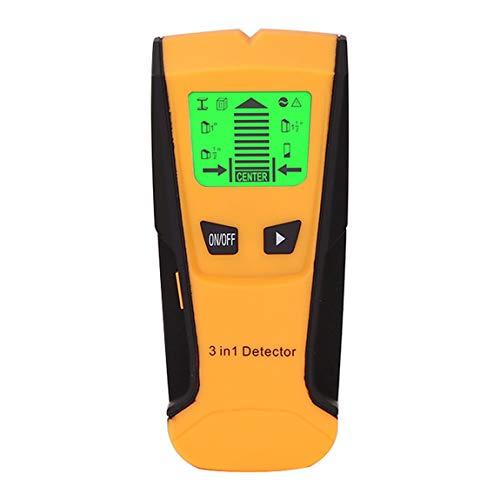 Detector de metales 3 en 1 encontrar pernos de madera de metal Ac voltaje Live Wire Detectar escáner de pared Detector de pared de caja eléctrica (color: amarillo)