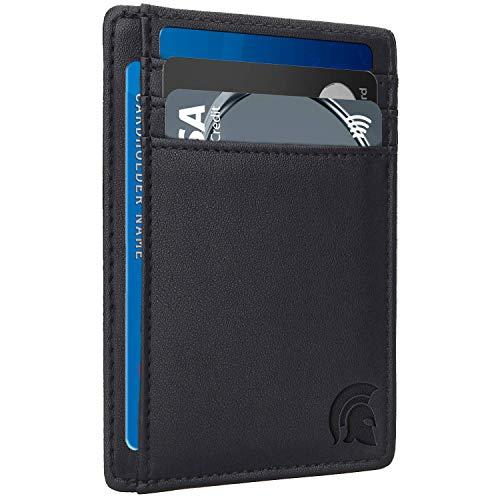 POWR - Cartera para Hombre, con Bloqueo RFID, diseño Minimalista, para Tarjetas de crédito, con Capacidad para hasta 7 Tarjetas y Billetes, Ideal para Viajes - Negro