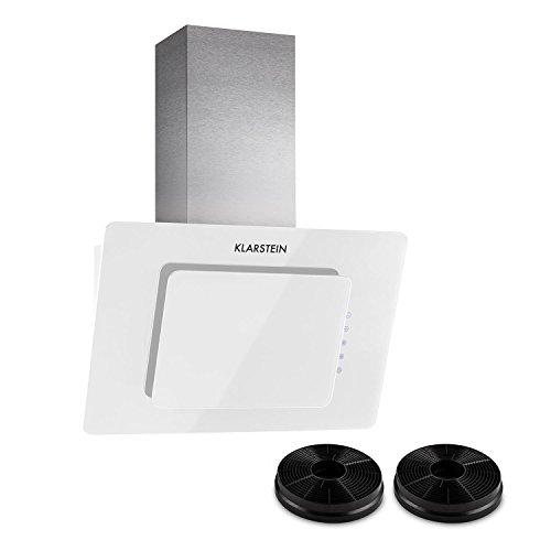 Klarstein Lorea 60 hotte aspirante avec filtre à charbon actif - Hotte aspirante murale, Max. 290 m³ / h, Mode recyclage, Commande tactile, Eclairage LED, 3 niveaux de puissance, blanc