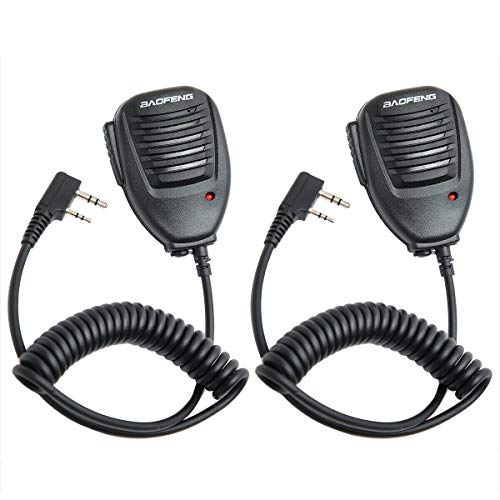 2 Pack Baofeng 2 Pin Remote Speaker Mic Shoulder Microphone for Baofeng UV-5R BF-888S UV-9S BF-F8HP BF-R3 GT-3 DM-5R DM-1702B BTECH TYT Kenwood HYT Two Way Radio