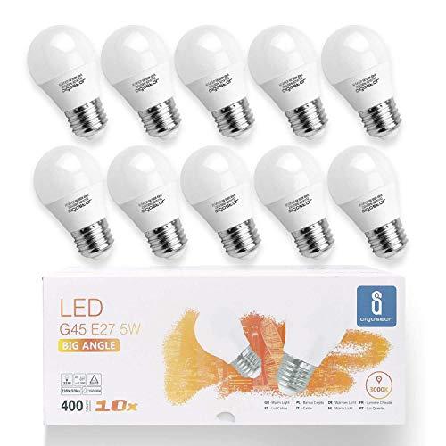 Aigostar -10 x E27 Bombilla LED G45, Casquillo gordo 5W, Bajo consumo, 400lm, Luz calida 3000K, Ahorro de energía, no regulable- Caja de 10 unidades