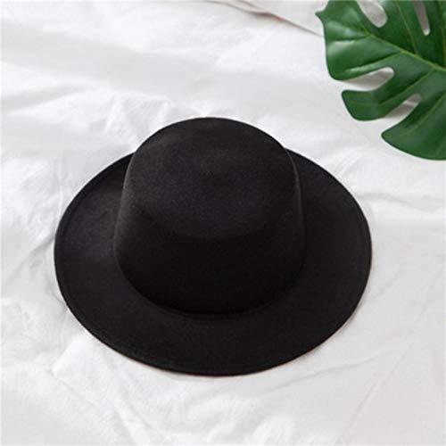 CCLIN Sombrero de Lana para Mujer, Sombrero clásico de Fieltro de Color sólido, Sombreros para Mujer, de ala Ancha, Tapa Plana, Gorra de Jazz, Sombrero de Cubo, Invierno, Primavera, Verano