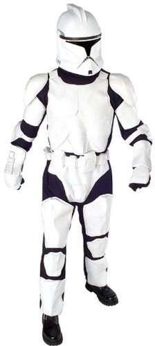 Star Wars Deluxe Clone Trooper Costume With Body Armor, Gloves And Mask, Black And White ,X-Large