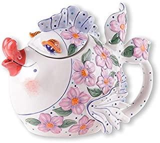 Blue Sky Ceramic Pink Flower Fish Teapot, 9.5 x 6 x 7