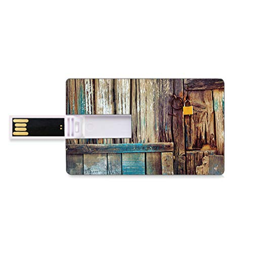 8GB USB Flash Thumb Drives Rustic Bank Credit Card Shape Business Key U Disk Memory Stick Storage Aged Shed Door Backdrop with Color Details Country Living Exterior Pastoral Mansion Image,Black Light