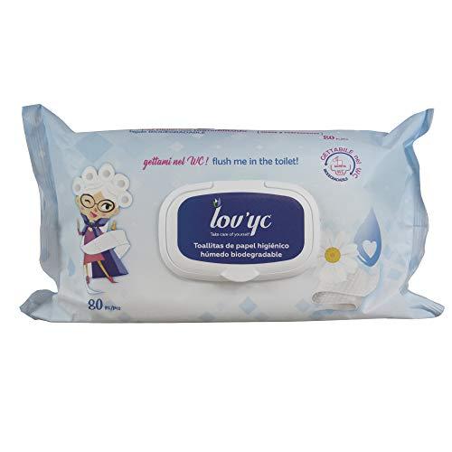 Lov'yc Toallitas Húmedas Papel higiénico 80U. con CAMOMILA, biodegradable