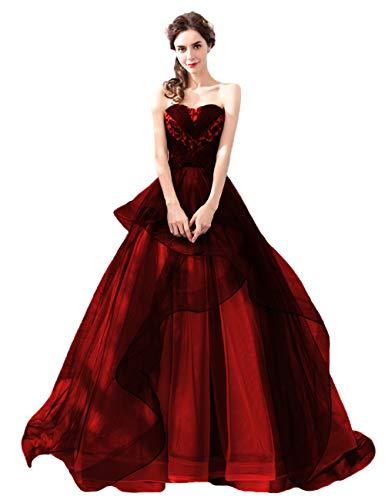 P.L.X Mehrfarbig Damen Lange A-Linie Gotisch Hochzeitskleider Handgefertigt Vintage Brautkleider