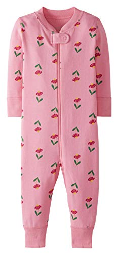 Moon and Back by Hanna Andersson One Piece Footless Pajamas Infant-and-Toddler-Sleepers, Pink Flowers, 0-3 Months
