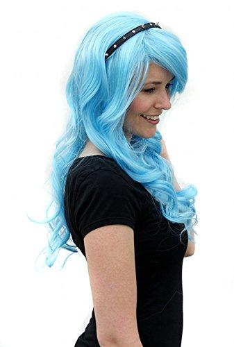 Prettyland Perruque Longue 70cm Bouclée Frisée Turquoise-Bleu Franges Longues Cosplay Magique C383