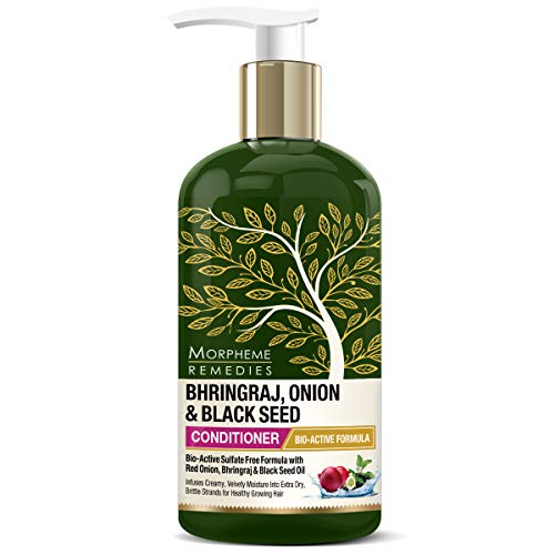 Morpheme Remedies Bhringraj, Onion, Black Seed Hair Conditioner with Red Onion Oil, Amla, Neem, Shikakai Extracts - No SLS/Sulphate, Paraben, 300ml
