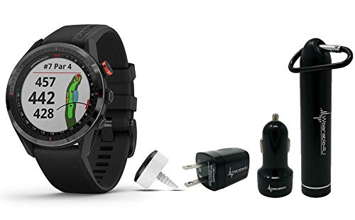 Garmin Approach S62 Premium GPS Golf Watch and Wearable4U Bundle (PowerBank Bundle, Black/Black Bundle)
