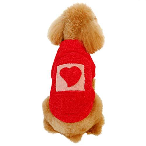 BBring Herz Muster Hundepullover für Katzen Hunde, Stricken Pullis Warm Winterpullover Haustier Kleidung Hundekleidung für Kleine Hunde Hündchen Kätzchen (XS, Rot)