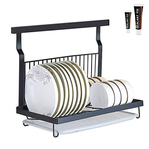 HOMESPON Dish Drying Rack Wall Mount Hanging Dish Rack Stainless Steel Folding Dish Rack Kitchen Storage Organizer with Drain Board (Black)