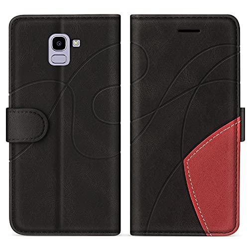 SUMIXON Hülle für Galaxy J6 2018, PU Leder Brieftasche Schutzhülle für Samsung Galaxy J6 2018, Kratzfestes Handyhülle mit Kartenfächern & Standfunktion, Schwarz