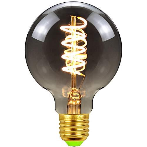 LED-Lampen Vintage Edison Bulb Globe G80 Spiralfilament Rauchglas 4W Dimmbar 220 / 240V E27 240Lumen Warmweiß (Smoke)