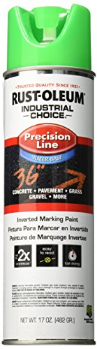 Rust-Oleum Corporation 205176 Rust oleum M1800 System Precision Line Inverted Water Based Marking Spray Paint, 17-Ounce, Fluorescent Green