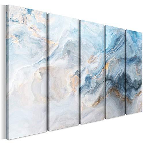 Revolio 250x120 cm 5 Pezzi Quadro Moderno Stampa su Tela Canvas per Camera da Letto Soggiorno Decorazione Murale Stampe da Parete Grandi Dimensioni XXL Tipo C - Arte astrazione Colori Grigio Bianca