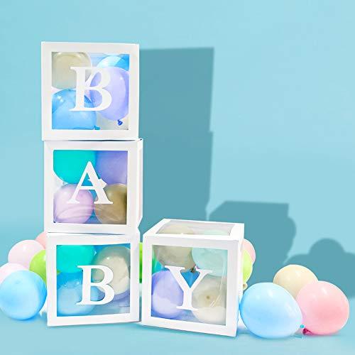 VINFUTUR 4pcs Caja Transparente para Globos Caja Globos Cuadrada Blanca para Decoración de Bautizo Cumpleaños Fiesta Boda 30*30*30cm(Sin Globos)