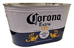 Great tub for indoor or outdoor parties Bright printed corona graphics Dimensions: 16 in. X 9 in. X 9 in. Holds a 12 pack of Corona Bottles easily