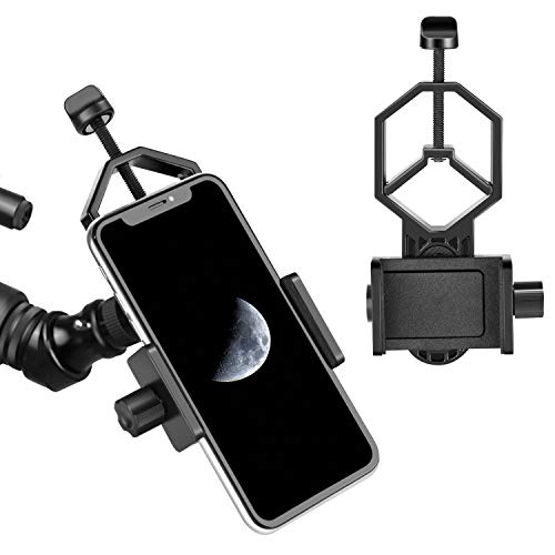 Universal Cell Phone Telescope Adapter Mount Compatible with Binocular Monocular Spotting Scope Telescope and Microscope for iPhone Samsung Cellphone Support Eyepiece Diameter 25 to 48mm